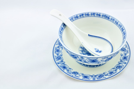 Blue and white porcelain tableware Stock Photo