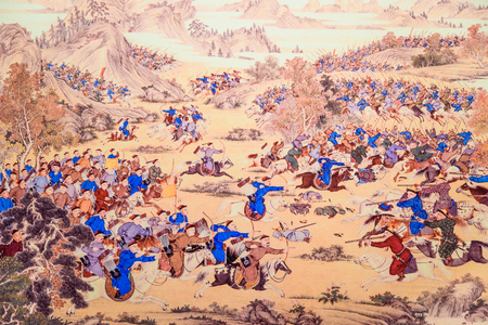 pacification: Emperor Qianlong pacification of Xinjiang painting Editorial