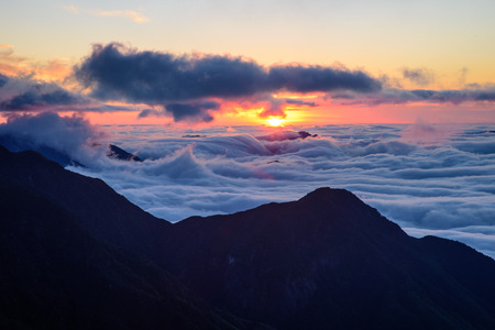 Sunset in Wugong Mountain Stock Photo