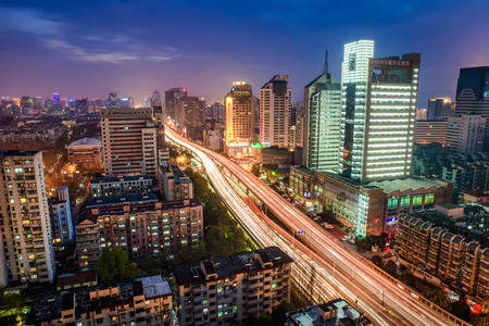 high rise buildings: night view of high rise buildings