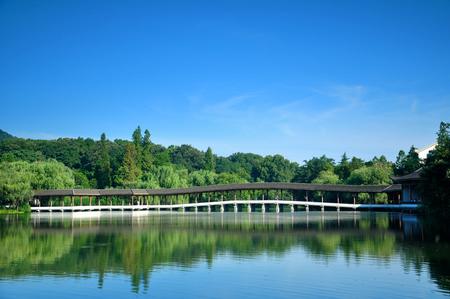daytime: ancient bridge at lake