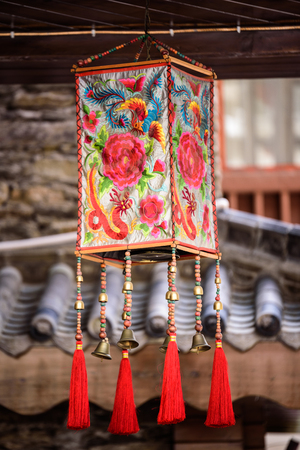 Folk Lantern hanging from the ceiling