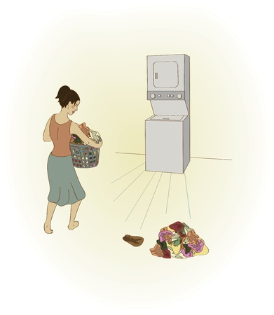 bringing: A woman bringing a full laundry basket to a stacked washer and dryer