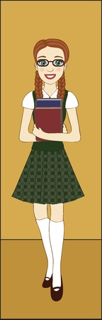 A girl in school uniform holding books Vector