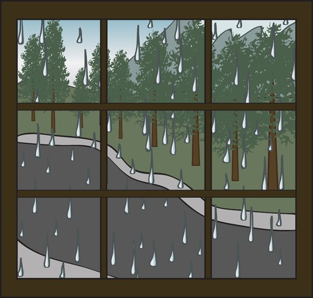 rainy season: Looking out a window on a rainy day Illustration