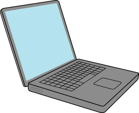 空白の画面を持つノート パソコン  イラスト・ベクター素材