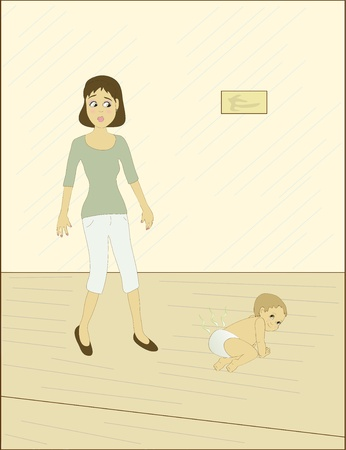 A mom walking by a baby with a stinky diaper Stock Vector - 11658381