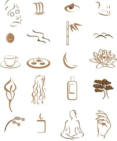 sal�n: los iconos de spa o sal�n de belleza o un masaje Vectores