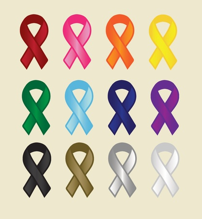 Various Cause Ribbons Illustration