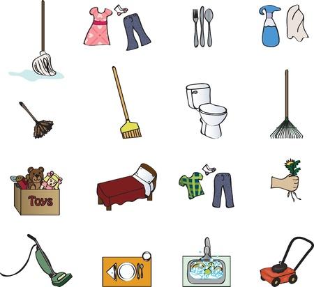 chores: pictogrammen voor een karwei grafiek Stock Illustratie