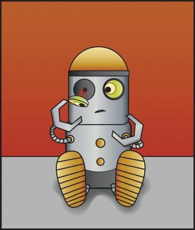 Little robot with a broken eye