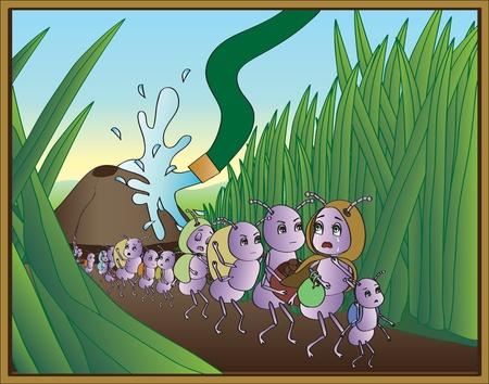 hormiga caricatura: Ant Éxodo Vectores