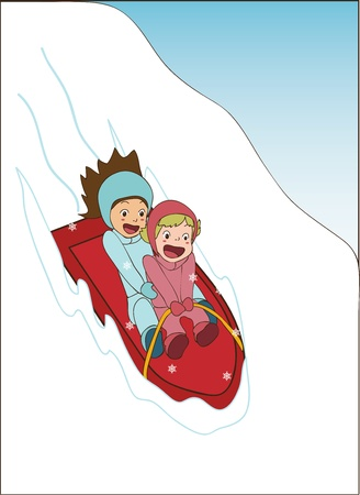 toboggan: Girls sledding and laughing Illustration