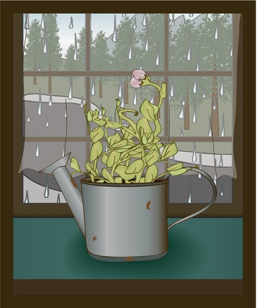 potting soil: sweet pea plant in an old watering can Illustration