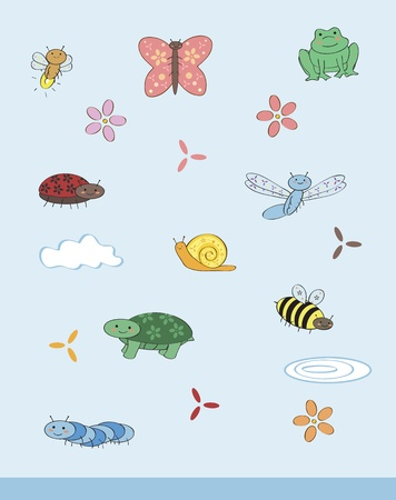 cute creepy crawly set Illustration
