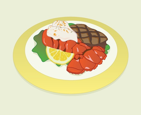 Surf and Turf Platter Vector
