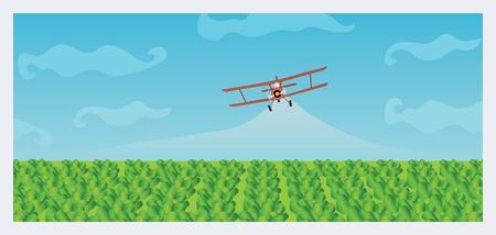 crop dusting biplane Illustration