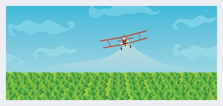 crop dusting biplane Illustration