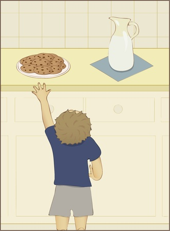 Little boy trying to reach a plate of cookies Ilustracja