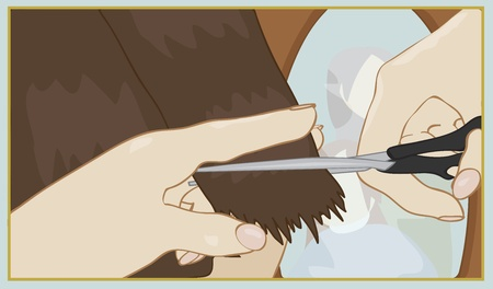 hairstylist: close up of hands trimming hair Illustration