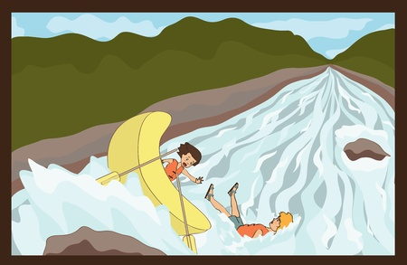 rafting out of the boat Illustration
