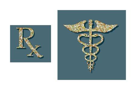 pills formed into medical symbols