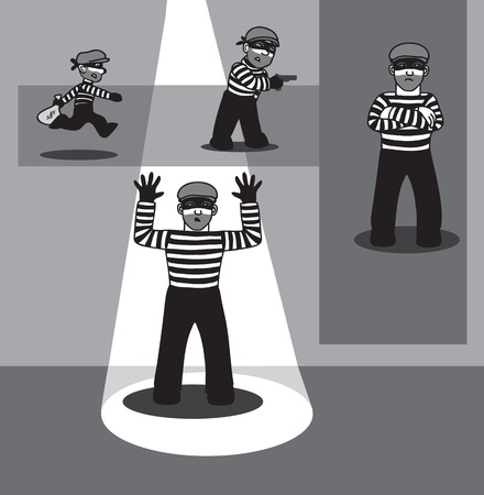 criminal in different poses Stock Vector - 12968083