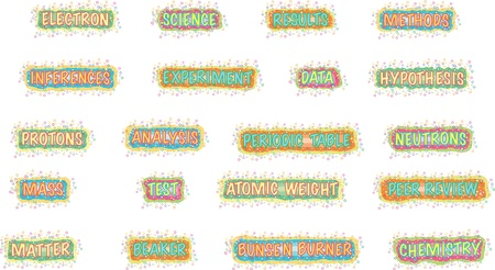 neutrons: bright science words Illustration