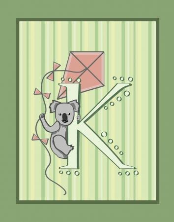 K はコアラと凧  イラスト・ベクター素材