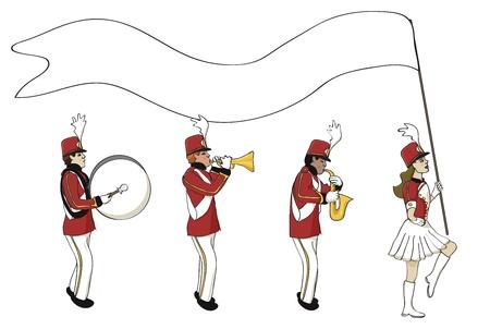Marching Band con la bandera en blanco Ilustración de vector