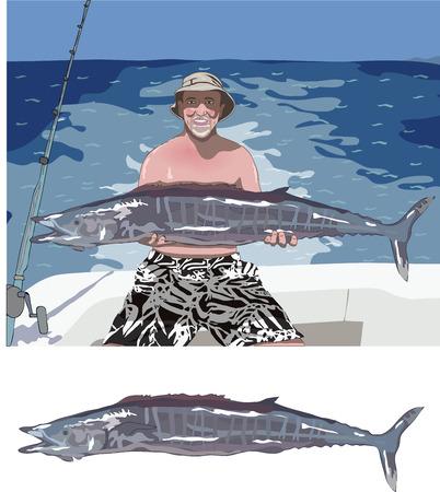 vieil homme assis: homme tenant un poisson, et le poisson isol�