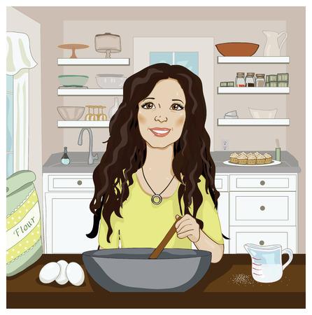 ingredients tap: Woman Mixing Ingredients