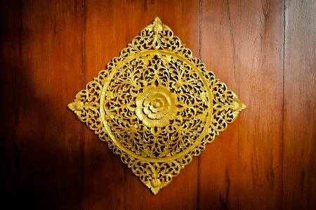 Wood Thai pattern on the door woods