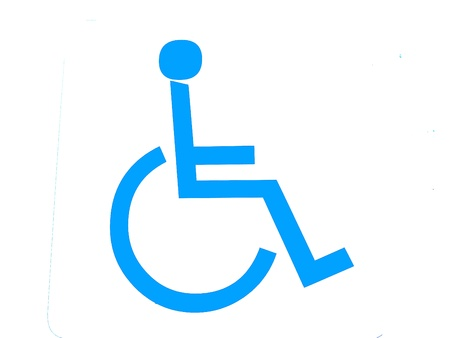 sign for persons with disabilities on white background photo