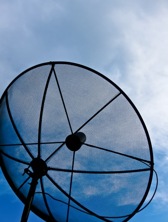 Satellite dish in blue sky with the Cloud Stock Photo