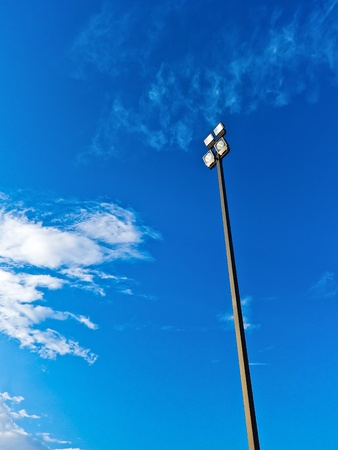 Poles Spotlights with blue sky and cloud Stock Photo