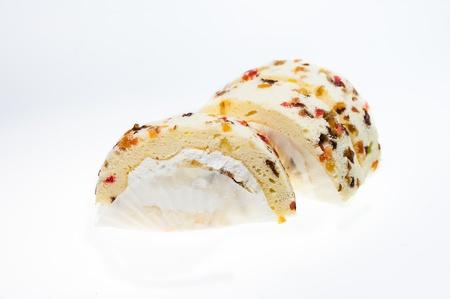 Fruit yam roll cake isolated on white background photo