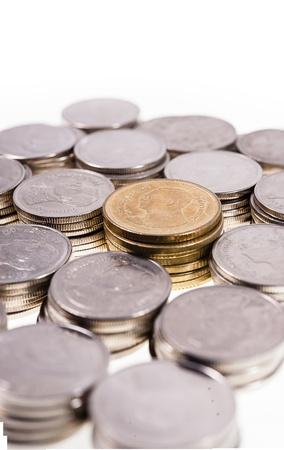 pennie: Money Coin thai bath in white background Stock Photo