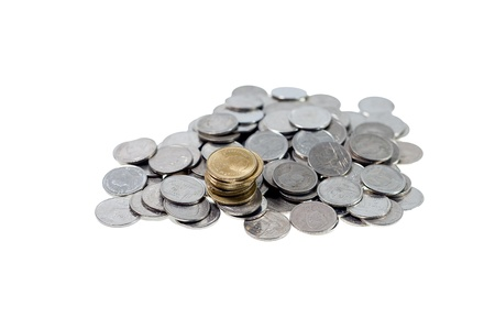 money Coins thai bath on white background