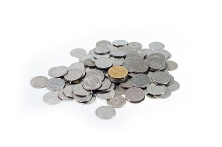 tresure: money Coins thai bath on white background