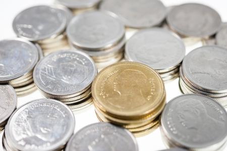 pennie: money Coins thai bath sort on white background