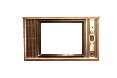 Oude vintage TV frame in witte achtergrond Stockfoto