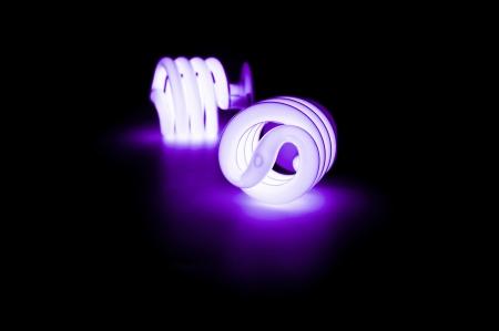 florescent light: Blue light florescent bulb in the dark