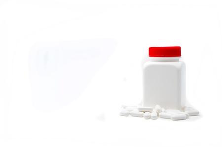 White bottle medicine isolate on white background Stock Photo