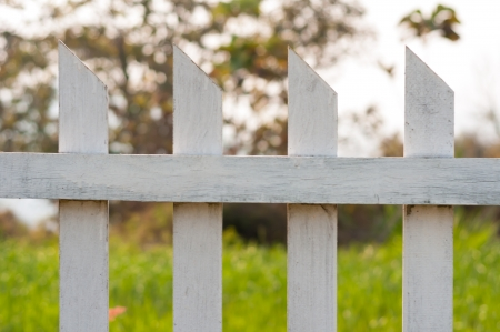 Close up old white fence in garden photo
