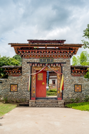 Arched entrance door of korea style with cloudy photo