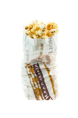 Popcorn in bag isolated on white background