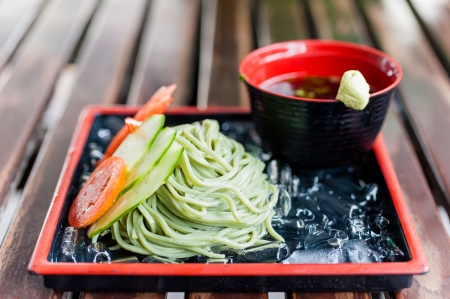 buckwheat zaru soba noodle japanese traditional food photo