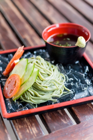 buckwheat zaru soba noodle japanese traditional food Stock Photo