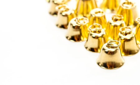 reflectance: Golden bell isolate on white background Stock Photo